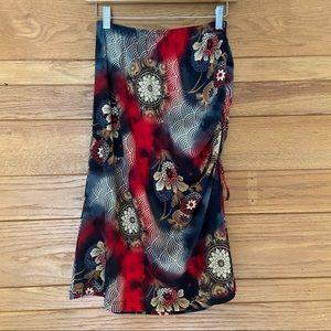 Vintage Y2K floral print ruched side slip skirt